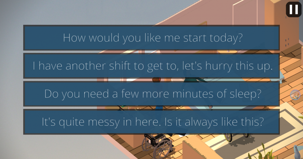 Screenshot showing conversation branches in the Enabler game